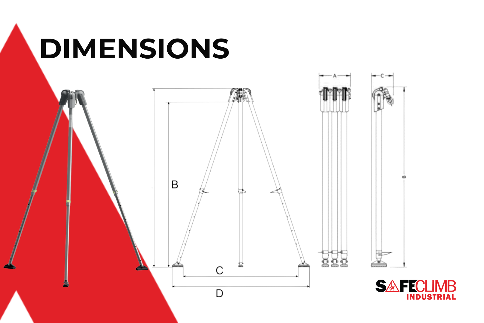 Folded and assembled dimensions of the Compact G.230 Tripod