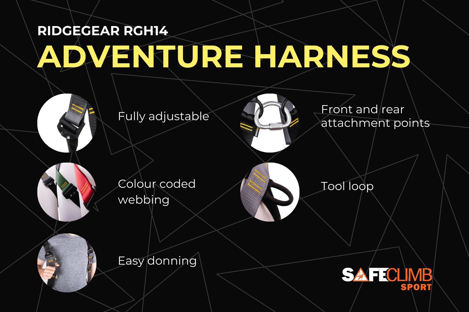 RGH14 Adventure Harness Key Features - offered by SafeClimb